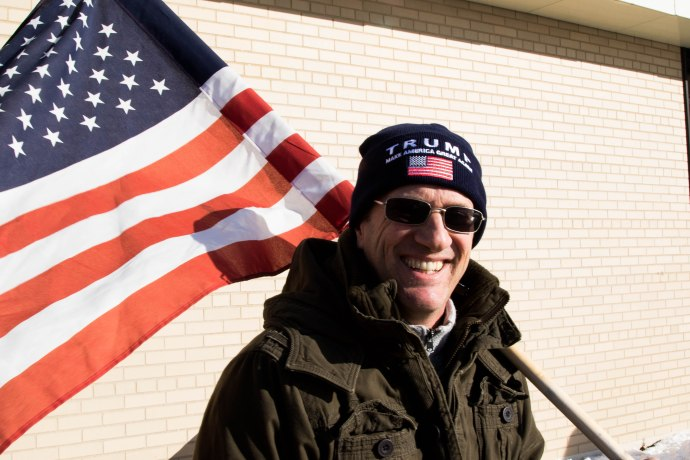 MANCHESTER, New Hampshire, 8 February 2016: Greg Salts, 52, campaigns for Dinald Trump in near the back door of the Ward 3 polling station in his home town of Manchester, New Hampshire on Tuesday. (Photo by: Jacob G. Dmochowski/BUNS)