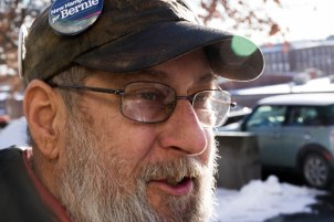MANCHESTER, New Hampshire, 8 February 2016: Richard Maynard, 57, of Manchester, New Hampshire supports Bernie Sanders because of his fight for the normal American. (Photo by: Jacob G. Dmochowski/BUNS)