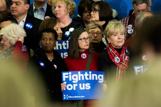 MANCHESTER, New Hampshire, 8 February 2016: Supporters of Hillary Clinton wait for her arrival to Southern New Hampshire University after her loss to Bernie Sanders on Tuesday. (Photo by: Jacob G. Dmochowski/BUNS)