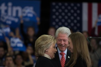 MANCHESTER, New Hampshire, 8 February 2016: The Clinton Family (Hillary, Bill, and Chelsea) celebrates the event at Southern New Hampshire University with her husband Bill on stage on Tuesday. (Photo by: Jacob G. Dmochowski/BUNS)
