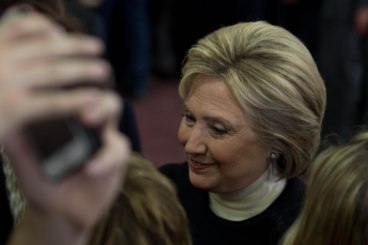 MANCHESTER, New Hampshire, 8 February 2016: Presidential candidate Hillary Clinton makes her rounds at Southern New Hampshire University on Tuesday, taking selfies with many members of the audience of her supporters. (Photo by: Jacob G. Dmochowski/BUNS)