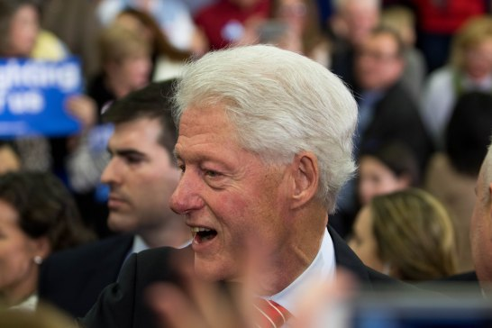 MANCHESTER, New Hampshire, 8 February 2016: Husband of Presidential candidate Hillary Clinton, Bill, makes his rounds at Southern New Hampshire University on Tuesday, taking pictures with many members of the audience of his wife's supporters. (Photo by: Jacob G. Dmochowski/BUNS)