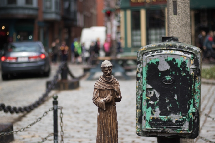 A statue stands proudly in Boston's North End on 11 April 2016.